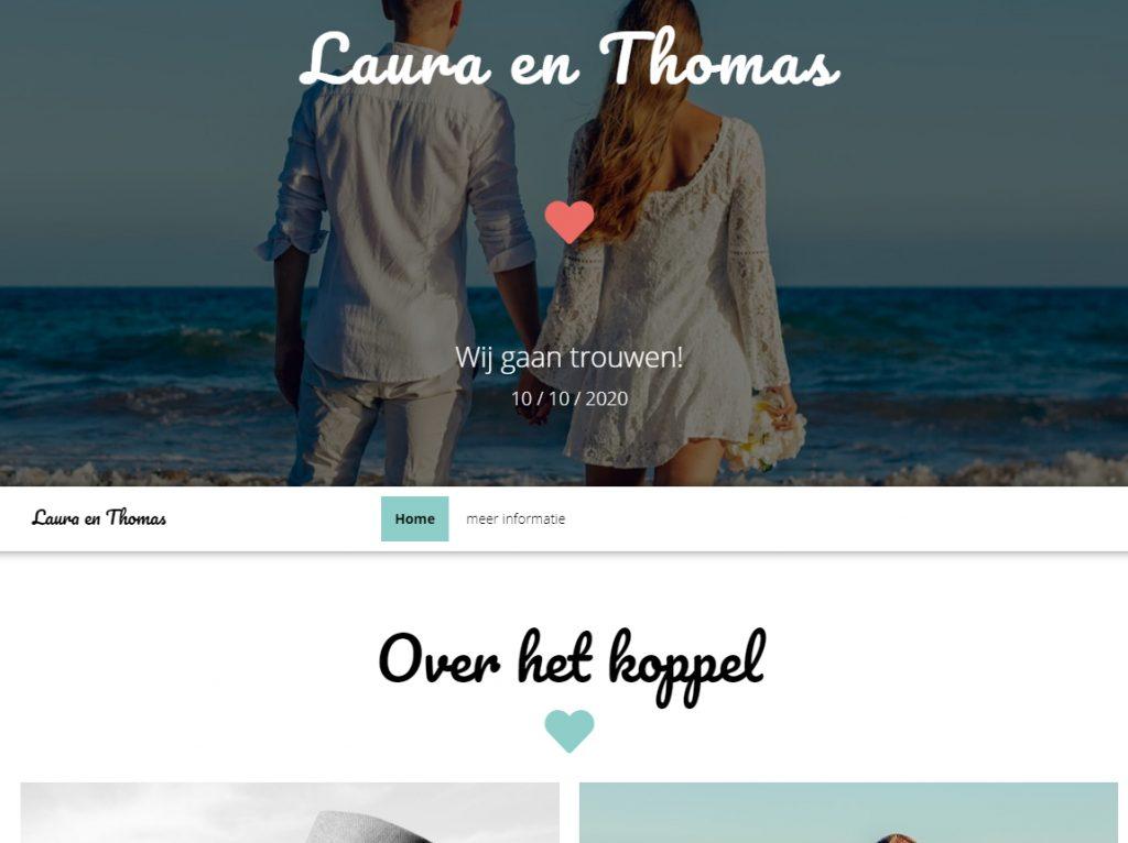 Voorbeeld website Laura en Thomas